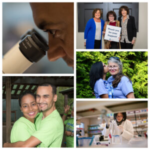 A collage of images depicting dystonia families and dystonia research.